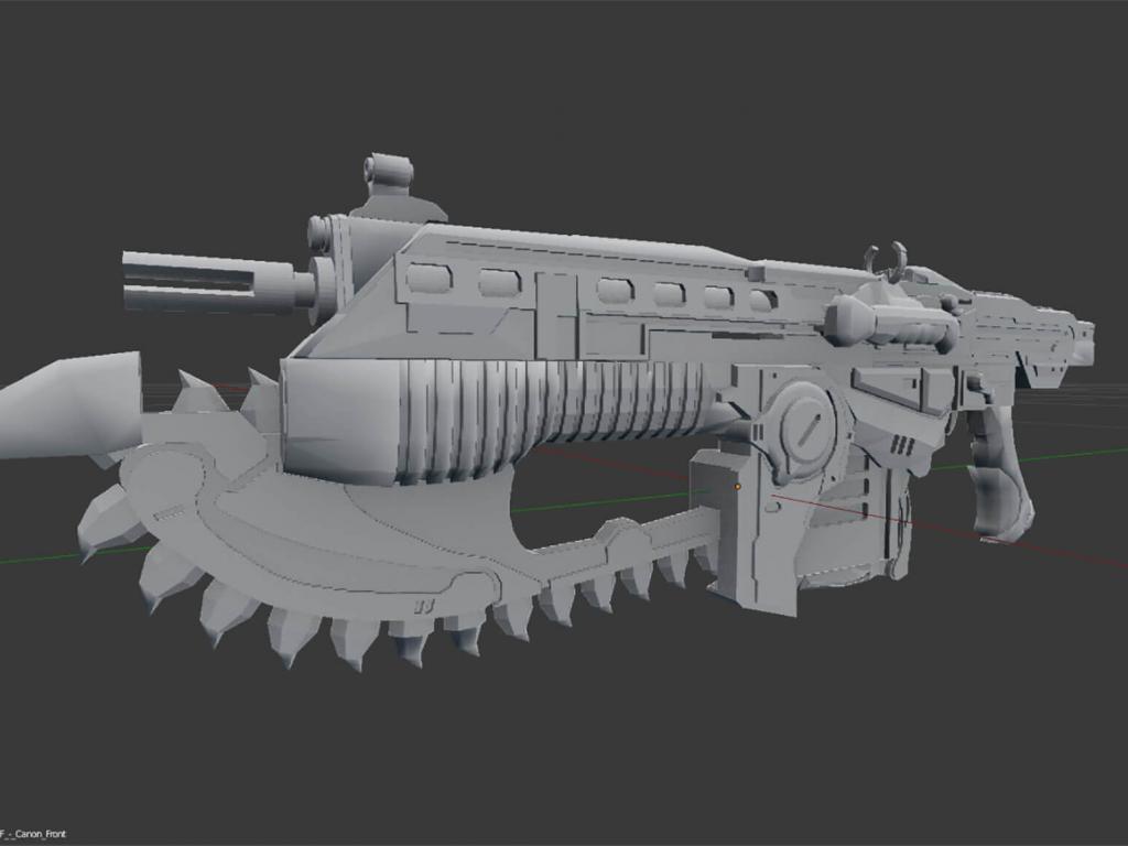 Gear of Wars paper lancer real size 3D model